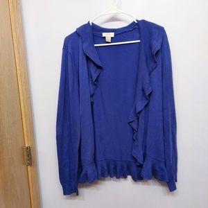 LOFT Blue Women's Cardigan Ruffle Sweater